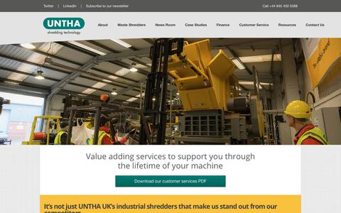 Screenshot of Support Page untha.co.uk - Service - UNTHA Shredding Technologies - captured Oct. 2, 2018