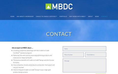 Screenshot of Contact Page mbdc.com - Contact - MBDC - captured Nov. 28, 2016