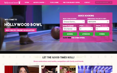 Screenshot of Home Page hollywoodbowl.co.uk - Hollywood Bowl | UK's Best Ten Pin Bowling Experience - captured Nov. 8, 2016