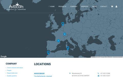 Screenshot of Locations Page aviocom.nl - Locations - Aviocom - captured Oct. 9, 2017