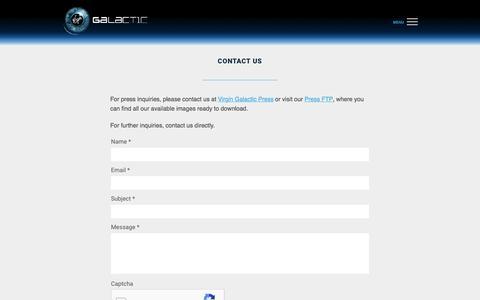 Contact Us - Virgin Galactic