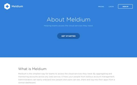 Screenshot of About Page meldium.com - Meldium | Team Password Manager, Cloud Identity & Access Management - captured Sept. 11, 2014