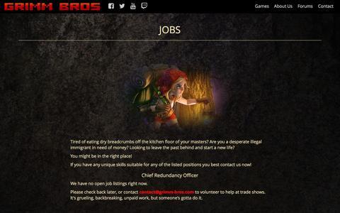 Screenshot of Jobs Page grimm-bros.com - Grimm Bros Video Game Studio - captured July 19, 2016