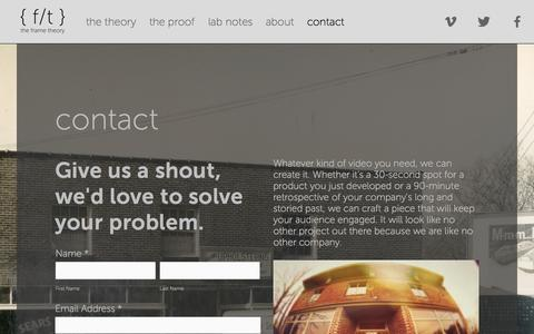 Screenshot of Contact Page theframetheory.com - contact — {f/t} the frame theory - captured Oct. 5, 2014