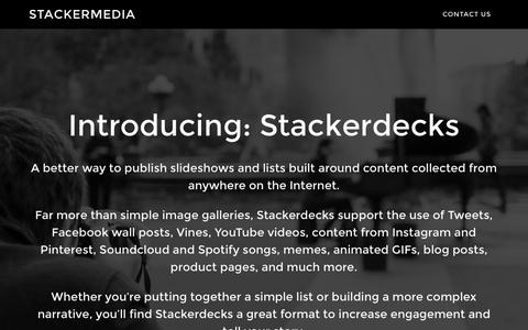Screenshot of Home Page stackermedia.com - stackermedia – The easiest way to create, publish, and deliver slideshows with content collected from any source on the Internet. - captured Aug. 16, 2015