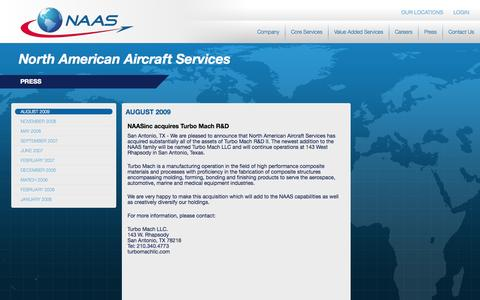 Screenshot of Press Page naasinc.com - August 2009 | North American Aircraft Services - captured Oct. 6, 2014