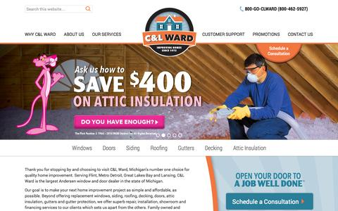 Screenshot of Home Page goclward.com - Michigan's Best Home Improvement Specialists | C&L Ward - captured Oct. 1, 2014