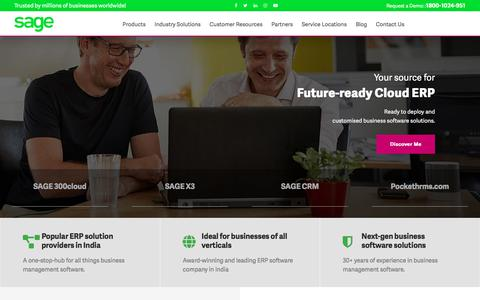 Screenshot of Home Page sagesoftware.co.in - ERP India | CRM India | ERP Vendors | CRM vendors| Sage Business Management Software - captured July 27, 2019