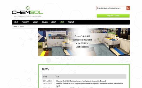 Screenshot of Press Page chemsol.com - News - Chemsol - captured Oct. 3, 2014