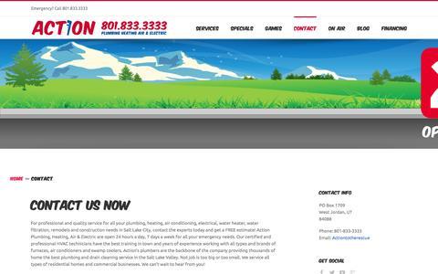 Screenshot of Contact Page actionplumbing.net - Contact Us | Action Plumbing - captured Feb. 5, 2016
