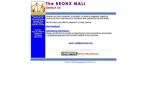 Screenshot of Contact Page bronxmall.com - The BRONX MALL - Contact Us - captured Oct. 5, 2014
