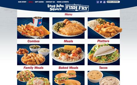 Screenshot of Menu Page ljsilvers.com - Long John Silver's – Long John Silver's – Menu - captured Sept. 19, 2014
