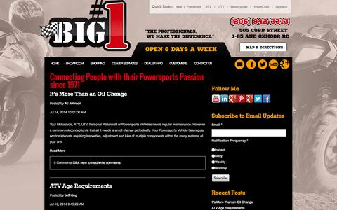 Screenshot of Blog bignumber1.com - Alabama's Largest Powersports Dealer -- Huge Selection of New and Pre-owned Motorcycles, ATV's, and PWC's - captured Oct. 4, 2014