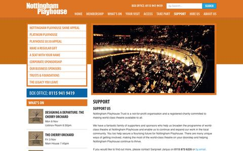 Screenshot of Support Page nottinghamplayhouse.co.uk - Support  at Nottingham Playhouse - captured Nov. 5, 2017