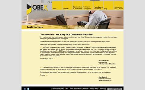 Screenshot of Testimonials Page panelextenders.com - Testimonials | OBEX Cubicle Extenders - captured Oct. 28, 2014