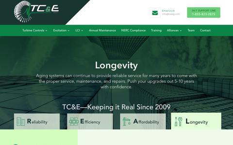 Screenshot of Home Page tcexg.com - Home - TC&E Turbine control upgrades optimization and maintenance - captured Nov. 16, 2018