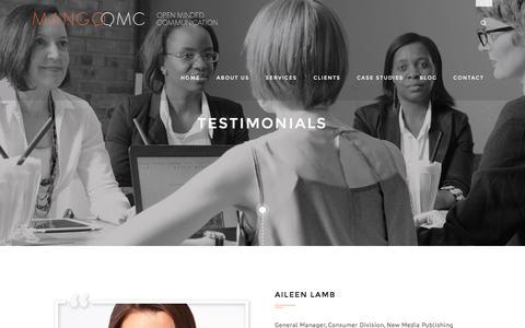 Screenshot of Testimonials Page mango-omc.com - Testimonials - Mango OMC - captured July 20, 2016
