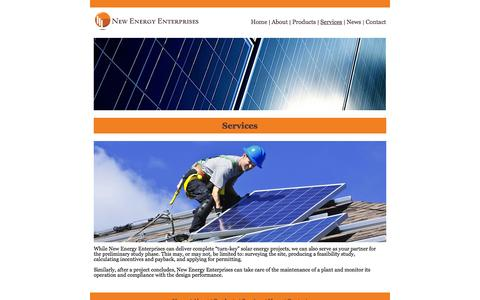 Screenshot of Services Page newenergyenterprises.com - New Energy Enterprises - Services - captured Oct. 7, 2014