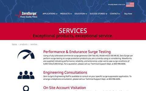 Screenshot of Services Page zerosurge.com - Services - Zero Surge - captured Oct. 19, 2017