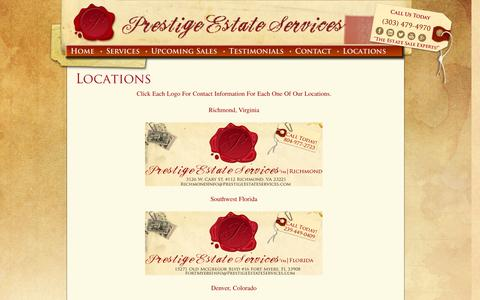 Screenshot of Locations Page prestigeestateservices.com - Locations - Prestige Estate ServicesPrestige Estate Services - captured Oct. 3, 2014