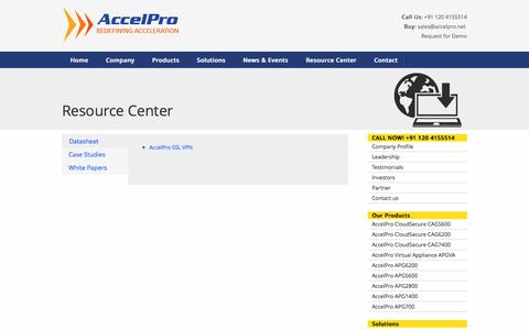Screenshot of Case Studies Page accelpro.net - Resource Center - captured Oct. 4, 2014