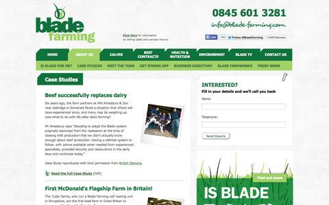 Screenshot of Case Studies Page blade-farming.com - Aberdeen Angus Beef Finishing Scheme | Case Study - captured Oct. 1, 2014