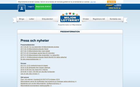 Screenshot of Press Page miljonlotteriet.se - Pressinformation - captured June 11, 2017