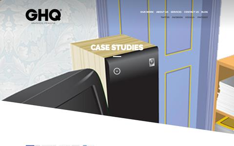Screenshot of Case Studies Page ghqdesign.com - GHQ Case Studies, GHQ - Graphic Design, Web Design and Advertising consultants, - captured Sept. 27, 2014