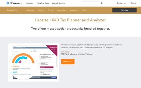 Screenshot of intuit.com - Lacerte - 1040 Tax Planner and Analyzer - captured April 24, 2018