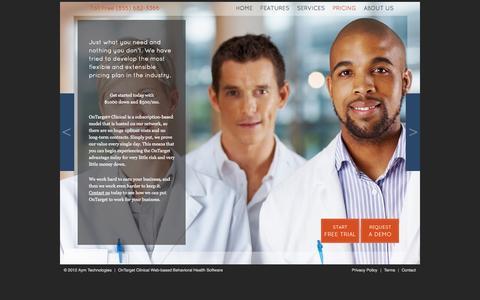 Screenshot of Pricing Page ontargetconnect.com - OnTarget Clinical Pricing - Behavioral Healthcare Management for $500 per month! - captured Nov. 5, 2014