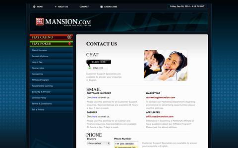 Screenshot of Contact Page mansion.com - Online Casino - Contact Us Page Mansion Casino  Mansion.com - captured Sept. 26, 2014