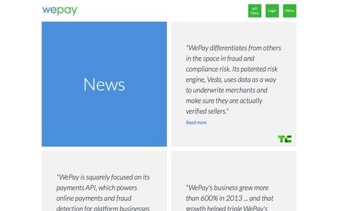 Screenshot of Press Page wepay.com - Press - WePay - captured Sept. 17, 2014