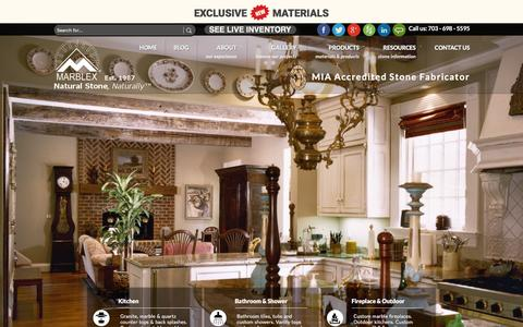 Screenshot of Home Page marblexinc.com - Granite Countertops, Fireplace,Natural Stone, Kitchen Bathroom Design Fairfax, VA | Marblex Design Int. - captured Feb. 12, 2016