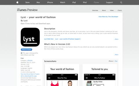 Screenshot of iOS App Page apple.com - Lyst - your world of fashion on the App Store on iTunes - captured Oct. 28, 2014