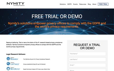 Screenshot of Trial Page nymity.com - Free Trial - captured Sept. 9, 2018