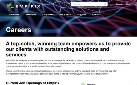 Screenshot of Jobs Page empirix.com - Career Opportunities – Empirix - captured Aug. 6, 2019