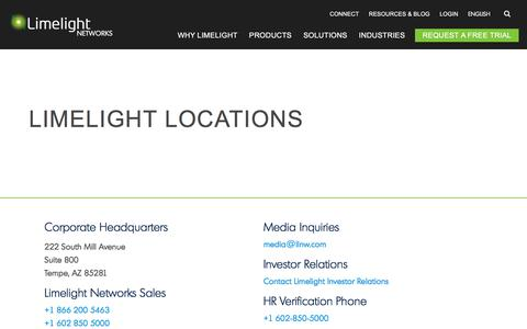 Screenshot of Locations Page limelight.com - Locations & Contact Information | Limelight Networks - captured Aug. 24, 2018