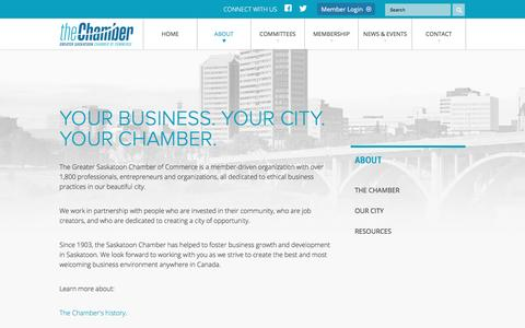 Screenshot of About Page saskatoonchamber.com - About | The Chamber | Saskatoon - Saskatoon chamber of commerce, saskatoon events, saskatoon businesses - captured Feb. 2, 2016