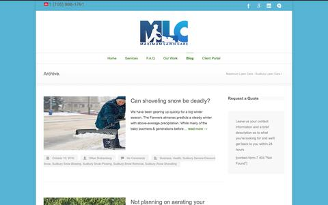 Screenshot of Blog maxlawncare.ca - Maximum Lawn Care – Sudbury Lawn Care - captured Oct. 17, 2018