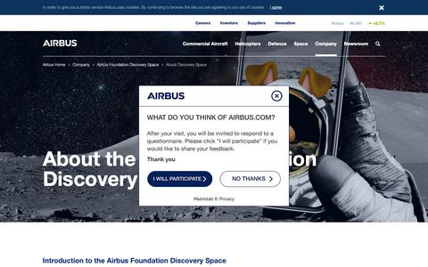 Screenshot of About Page airbus.com - About Discovery Space - Company - Airbus - captured Jan. 25, 2019