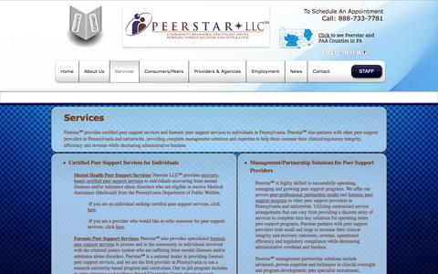 Screenshot of Services Page peerstarllc.com - Services - captured July 16, 2018