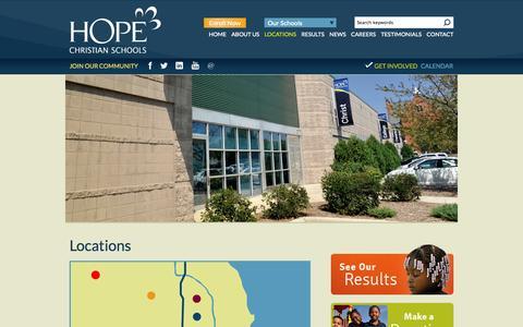 Screenshot of Locations Page hopeschools.org - Locations | HOPE Christian Schools - captured Oct. 1, 2014