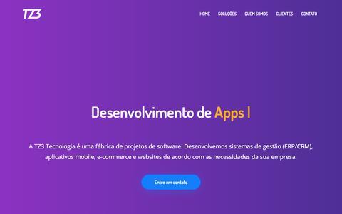 Screenshot of Home Page tz3.tech - TZ3 Tecnologia | Sistemas (ERP/CRM), apps, websites e e-commerce - captured July 5, 2018