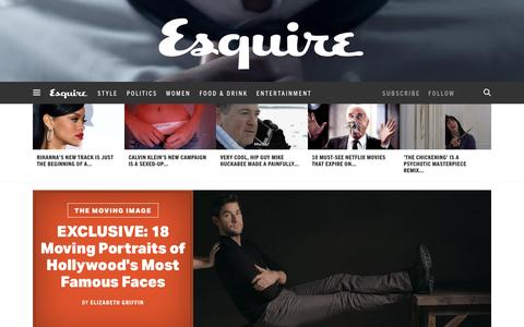 Screenshot of Home Page esquire.com - Esquire - Men's Fashion, Cocktails, Politics, Interviews, and Women - captured Jan. 29, 2016