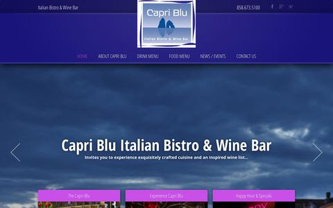 Screenshot of Home Page capri-blu.com - Capri Blu Restaurant ‹ Italian Bistro & Wine Bar - captured Sept. 30, 2014