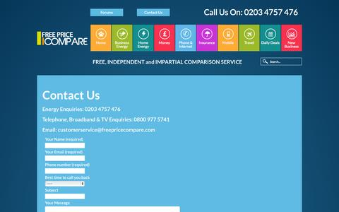 Screenshot of Contact Page freepricecompare.com - Contact Us | Free Price Compare - captured Sept. 30, 2014