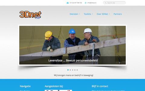 Screenshot of Home Page Site Map Page Terms Page 3dnet.nl - 3DNet | Brengt mens en bedrijf in beweging - captured Sept. 30, 2014