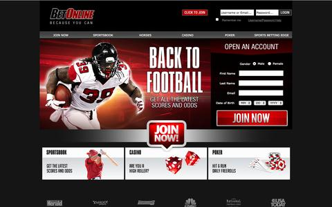 Screenshot of Home Page betonline.com - Online Sports Betting Tips, Odds & Lines At Bet Online Sportsbook - captured Sept. 19, 2014
