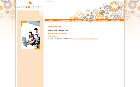 Screenshot of Services Page ressourcial.fr - Nos services - captured Oct. 8, 2014