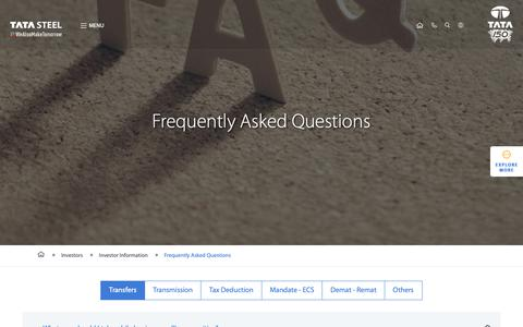 Screenshot of FAQ Page tatasteel.com - Tata Steel Investors Frequently Asked Questions (FAQs) - captured Nov. 8, 2018